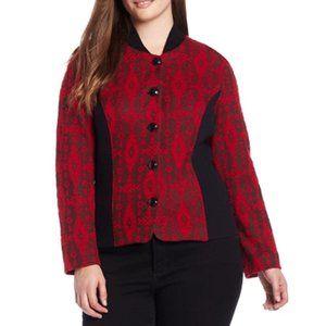 Pendleton | Red & Black Pattern Knit Jacket | 3X